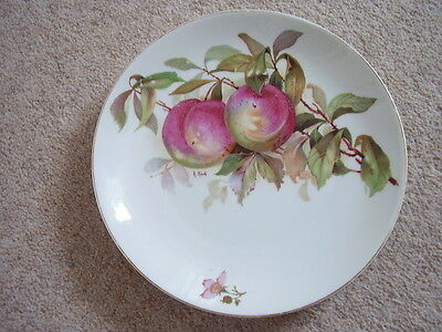 Antique Bavaria Germany Porcelain Plate Signed A.Koch,Plums