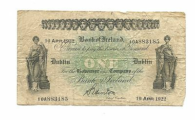 April 10, 1922 Rare 1 Pound Sterling Note, Dublin, Ireland