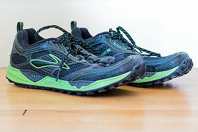 Men's Brooks Cascadia 6 Dna Shoes Black Green Size 10 Fast Shipping