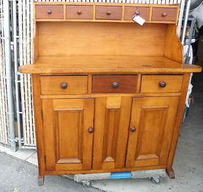Vintage 19th  Century Antique Primitive Farmhouse Buffet / Cupboard SOLID!