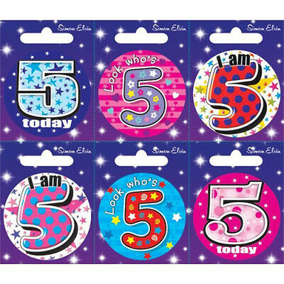 Simon Elvin I AM 5 TODAY Happy 5th Birthday Badge Girl Boy Pink Blue 55mm