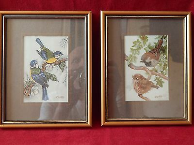 2X Framed Old Cash's Delicately Woven Silk Pictures House Sparrow Blue Tit