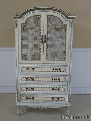 F42728: Antique French Louis XIV Paint Decorated Armoire