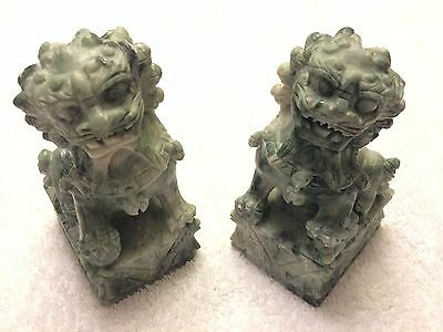 Chinese Carved Stone Foo Dog Bookends or Statues