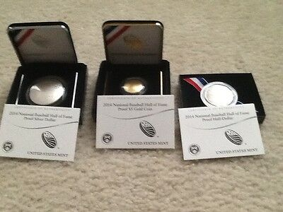 2014 Baseball Hall of Fame 3 Coins , 5 Dollar Gold, Silver Dollar and  Clad Half