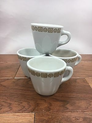 Vtg Set of 4 Shenango Restaurant China Gold Daisy Pattern Coffee Mugs / Cups