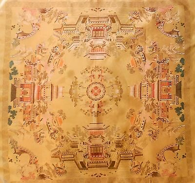 Vintage Chinese Piano Scarf / Table Cloth - Embroidered Gold Silk Brocade