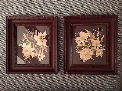 Pair of Vintage Turner Maroon Floral Prints Framed Art Signed