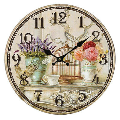 SY Floral Vintage Shabby Chic Style 34cm Wall Clock Home Bedroom Kitchen Quartz