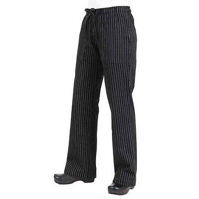 Chef Works - BWOM-BPS-L - Women's Black Pinstripe Chef Pants (L)