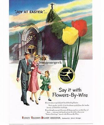1954 FTD Florist Yellow Red Tulips Church Easter Vtg Print Ad