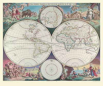 """Map of the World by De-Wits 1689  - 30"""" x 20"""" Photo Poster Print"""
