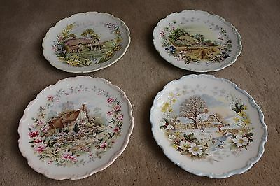 Royal Albert Cottage Garden Year Series all 4 collectors plates in boxes 1984