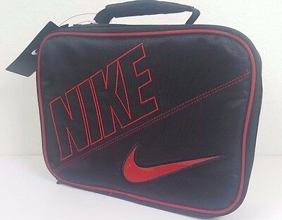 Nwt Nike Girl Boy Black Red  Insulated School Lunch Box Lunchbox Bag