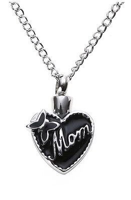 Mom Cremation Urn Necklace Heart Butterfly Jewelry Mother Perfume Keepsake Ash