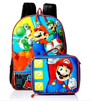 "Nintendo Super Mario Kids 16"" School Backpack with Insulated Lunch Bag NWT"