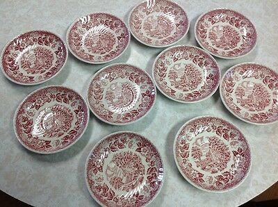 Antique Red Willow saucers for cups, set of 10