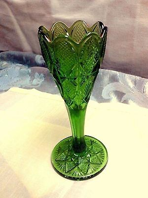 EAPG VASE U.S. GLASS CO PENNSYLVANIA Pattern Green Glass 1890 Era