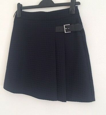 NEW Ex OASIS: Navy Check Print Buckle Short Work Formal Flare Skirt Size 6-16
