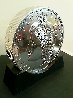 Large Morgan Silver Dollar Money Coin Bank Profile 3D Black Base 2 Sides US
