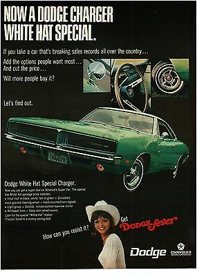 1969 Dodge CHARGER Green 2-door Hardtop White Hat Special VTG PRINT AD