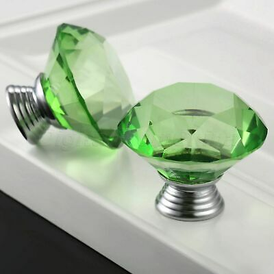 Green Knobs Crystal Glass 40mm Pull Handle Furniture Drawer Cabinet 1/12Pcs Pull