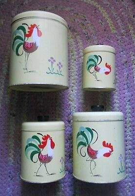 Vintage Ransburg Nesting Yellow Canisters Set Of 4  w/Lids Rooster Hand Painted