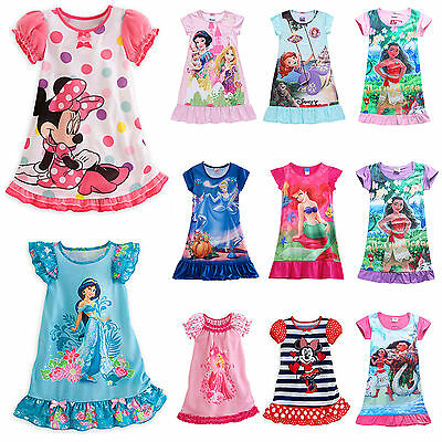 Girls Kids Disney Dresses Cartoon Pajamas Nightgown Sleepwear Nightwear 0 - 13 T