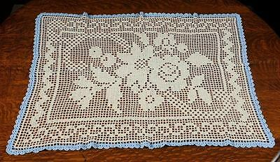 """Crocheted Table Topper - Beige/cream With Blue Trim - Approx. 29"""" X 36"""""""