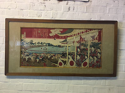 Antique Japanese Triptych Woodblock Print People Watching Sports Polo