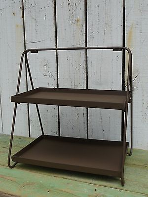 Primitive rustic metal 2 tier stand organizer farmhouse country home decor