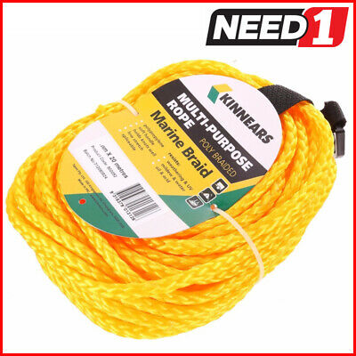 6 Coils x KINNEARS Marine Braid Multi-Purpose Poly Rope, 8mm x 20M