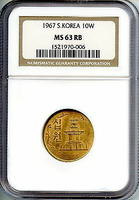 Korea  1967   10 Won    Ngc Ms 63 Rb   Bronze