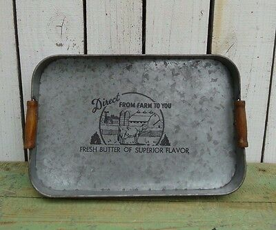 Primitive rustic decorative metal tray w/handles farmhouse country home decor
