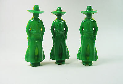 3 Vintage Cowboy Plastic Whistles Green and Yellow toys