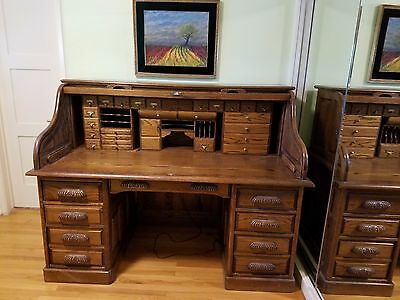 """66"""" American S Curve Solid Golden Oak Paneled Roll Top Desk with Key"""
