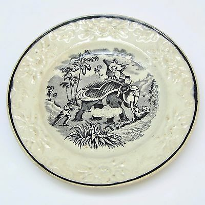 Antique Black Transferware Child's Plate Elephant Tiger Hunt