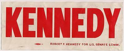 Bumper Sticker Robert Kennedy RFK for US Senate NY 1964 Unused w backing intact