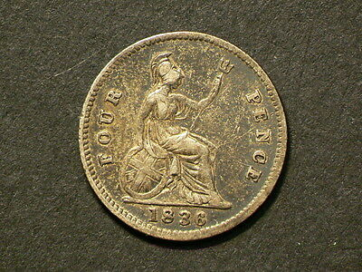 Great Britain Guiana 1836, 4 Four Pence, Groat,  George IIII, Silver Coin #G5736
