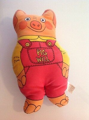 "Vintage Richard Scarry Pig Will and Pig Won't Plush 1985 Doll 10"" RARE"