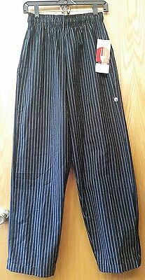 NWT Chef Works Mens Small Black Pinstripe Chef Pants Designer Baggy PINB