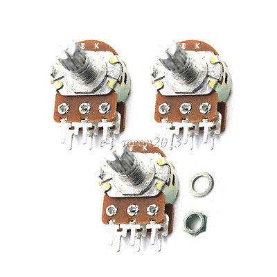 5 pcs 6-Pin 100KB B100K Stereo Dual Pot Potentiometer pots Split Shaft 15mm