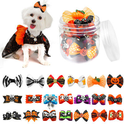 20/100pcs Cute Small Dog Cat Puppy Hair Bows Grooming Accessories Halloween Gift
