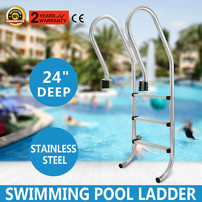 New Stainless Steel Swimming Pool Ladder In Above Ground 3 Steps Non-skid 155cm