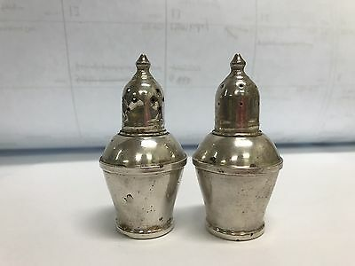 VINTAGE SET of 2 WEIGHTED STERLING SILVER SALT PEPPER SHAKER PATINA GLASS LINED