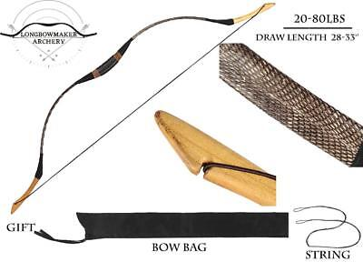 20lb-60lb-80lb Handmade Hungarian Longbow Snakeskin Recurve Bow Archery Hunting