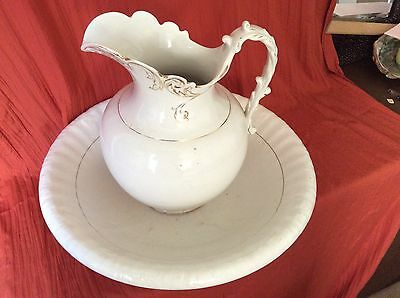 Beautiful K T K Co Semi Vitreous Porcelain Pitcher and Bowl