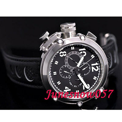 50MM PARNIS black dial date week display left crown Automatic men's watch P17