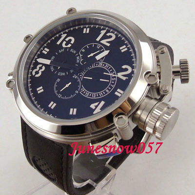 50MM PARNIS Automatic men's watch black dial date week display multifunction P2