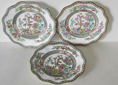 "3 Antique Coalport Indian Tree Scalloped Dessert Pie Plates  ""england"" Mark"